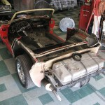 Old body panels cut off exposing bonding areas on 1963 Corvette Roadster project