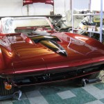 1963 Corvette with signals, head light buckets and hood installed under construction