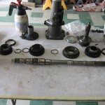 transmission main shaft ready for reassembly