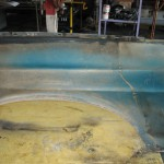 Shelby Inner fender overspray with undercoating removed