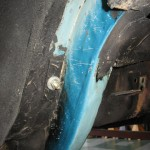 Paint layers(overspray) rear frame rail